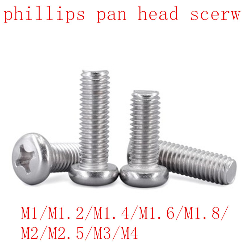 100 Pcs 50 pcs m1 m1.2 m1.4 m1.6 M2 M2.5 M3 M4 DIN7985 GB818 304 สแตนเลสสตีลโคมไฟ Pan หัวสกรูสกรู|สกรู|การปรับปรุงบ้าน -
