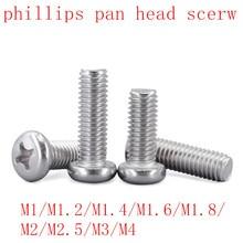 100 Pcs 50 pcs m1 m1.2 m1.4 m1.6 M2 M2.5 M3 M4 DIN7985 GB818 304 สแตนเลสสตีลโคมไฟ Pan หัวสกรูสกรู