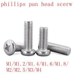 100Pcs 50pcs m1 m1.2 m1.4 m1.6 M2 M2.5 M3 M4 DIN7985 GB818 304 Stainless Steel Cross Recessed Pan Head Screws Phillips Screws(China)