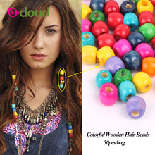 Купить с кэшбэком 100Pcs/lot 5mm Multi Color Round Wooden Dread Dreadlock Hair Beads and Hair Cuff Clips Random Color Headwear Accessories Tools