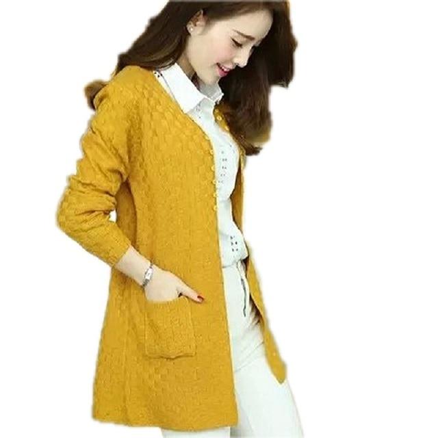 1f443c3523fc1 Geometric Pattern Long Cardigans 2018 Autumn Winter Women s Jackets Knitted Coats  Ladies Cardigan Jackets Feminino Knitted