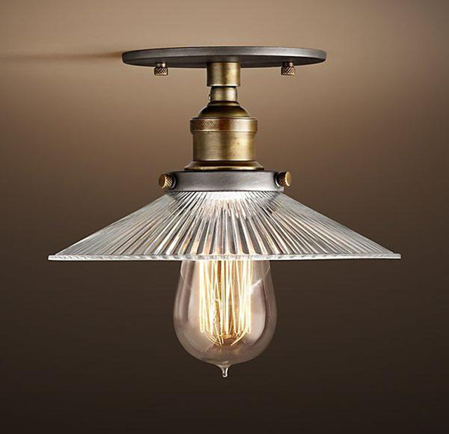 Loft Industrial Vintage Ameican Glass Iron led Ceiling Light ...