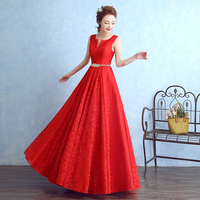 Brand New Bridesmaid Dresses Elegant Princess Long Red Bride Gown Lace Ball Prom Party Homecoming/Graduation Formal Dress