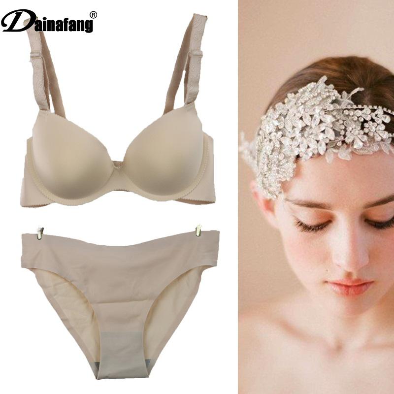 2019 DAINAFANG ABC push up lingerie,3/4 cup hot water sale compilation Smooth, strapless Female Sexy   bra     set   underwear   Set