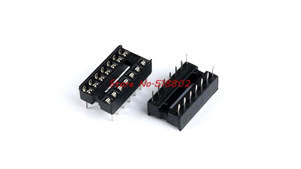 100pcs/lot Block 14P IC Sockets DIP-14 Straight 14 -pin DIP Socket Crew In Stock