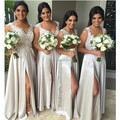 2016 Newly Lace Appliqued A-line Sleeveless Splited Sliver Women Wedding Party Dresses Long Bridesmaid Dress Custom Made