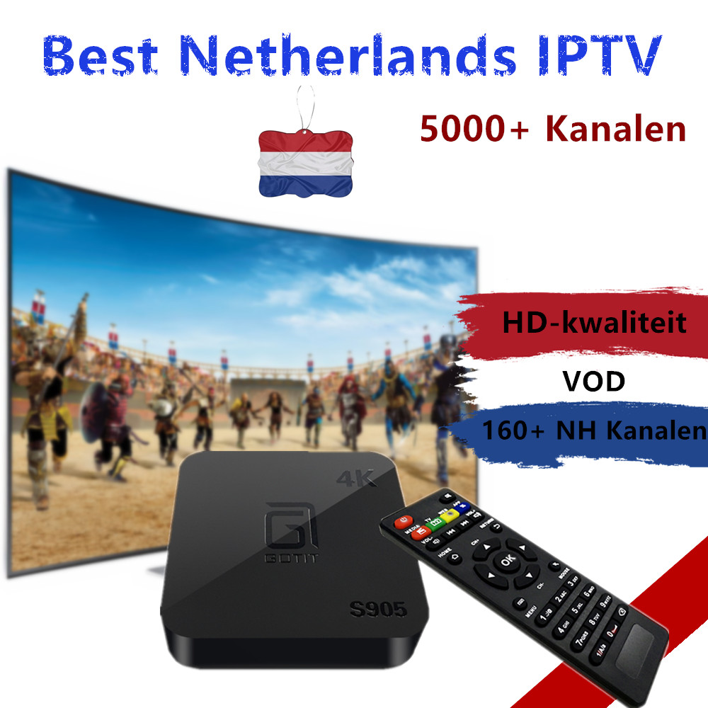 Best Netherlands IPTV GOTiT S905 Android TV Box Dutch Europe IPTV H.265 4K Amlogic S905 Quad-Core android tv box 5000+ live tv gotit cs918 android 4 4 tv box with 1year arabic royal iptv europe africa latino american iptv rk3128 media player smart tv box
