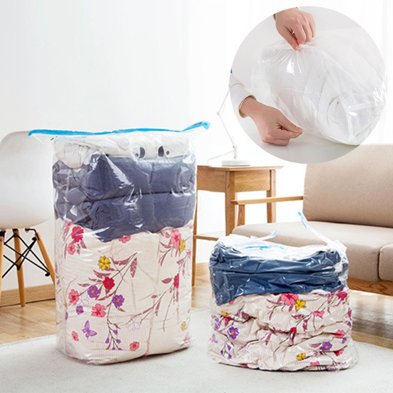 NEW Hand Rolling Vacuum Seal Compressed Storage Bag Luggage Clothes Clothes Packing Bag Transparent Border Travel Space Saver