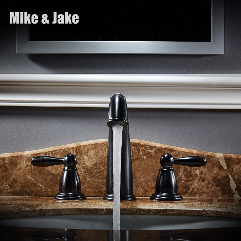 whole black bathroom black faucet  three hole basin mixer Tap double handle Basin Mixer Hot And Cold Water Wash Faucet MJ896whole black bathroom black faucet  three hole basin mixer Tap double handle Basin Mixer Hot And Cold Water Wash Faucet MJ896