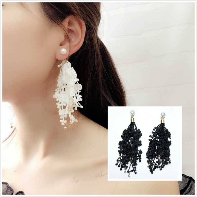 2018 Lace Drop Crystal Earrings Fashion Jewelry Boucle D'oreille Long Tassel Simulated Pearls Earring For Women Dangle Brincos