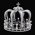 Luxury Vantage plated Silver Rhinestone pearl Wedding Crown Alloy Bridal Tiara Baroque Queen King Crown