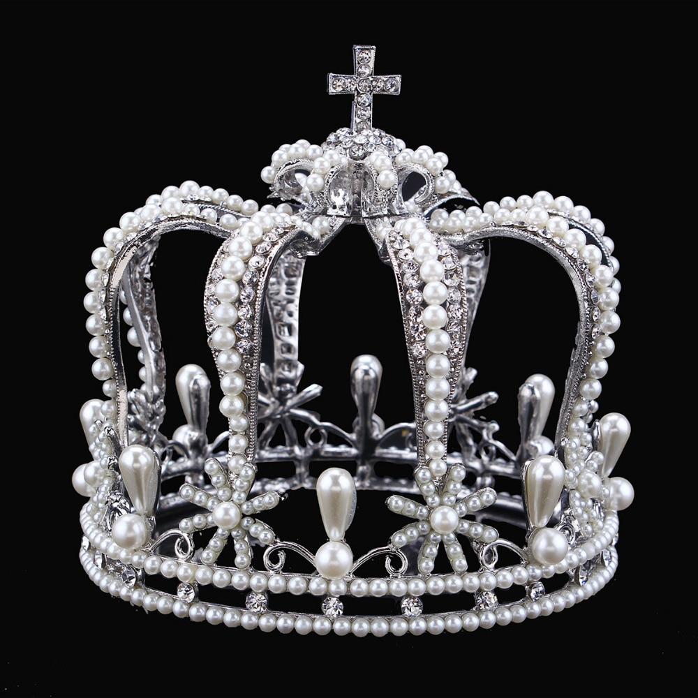 Luxury Vintage Silver Color Rhinestone Simulated Pearl Wedding Crown Alloy Bridal Tiara Baroque Queen King Crown