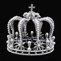 Mirador de lujo plateado Plata Rhinestone de la perla de la Aleación De La Corona de La Boda Tiara Nupcial de la Reina Barroca Rey Crown