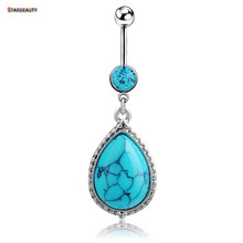2017 Summer Style Green Nature Stone Sterling Steel Belly Ring 14G Navel Accessory Xuping-Jewelry Bikini Beach Accessorys(China)