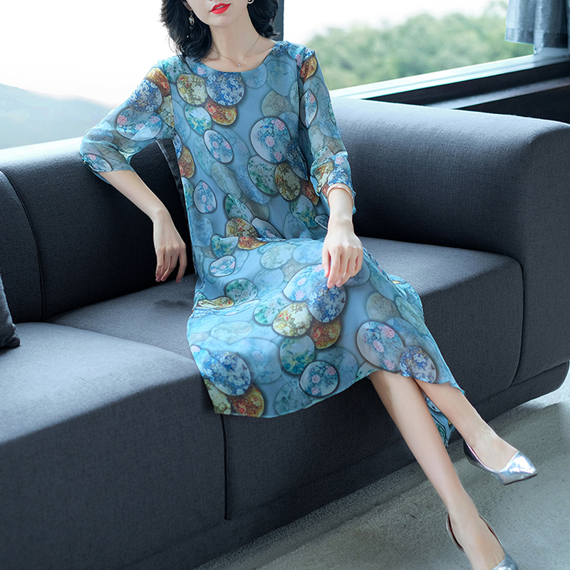Summer fall clothes for women real 100% silk natual dress plus size large midi robe party dresses elegant noble print floral