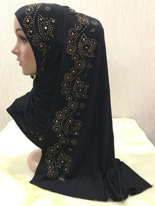 H1345 popular soft modal elastic jersey cotton long scarf with rhinestones women s headwrap islamic long