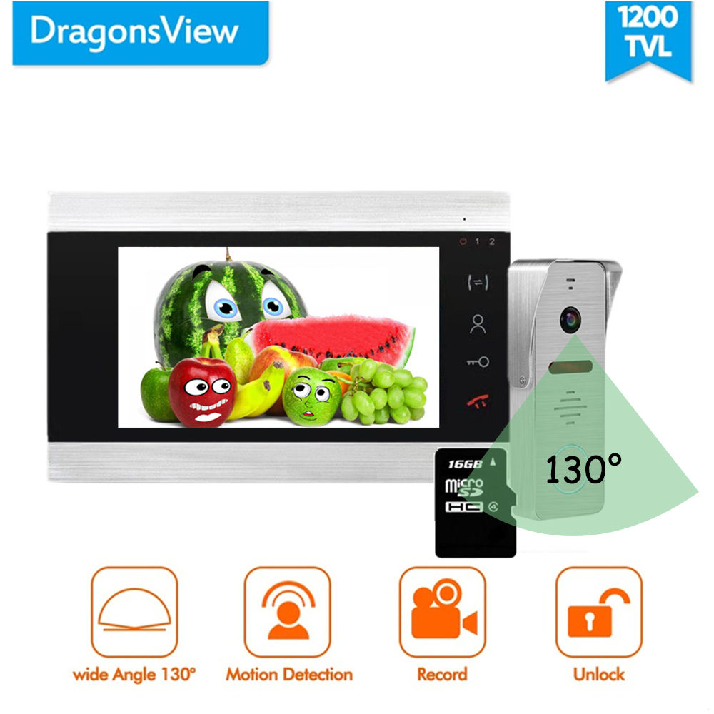 Dragonsview Video Door Phone 7 Inch Doorbell Intercom Unlock System Record 16GB SD Card Touch Button Wide Angle 130 Degree