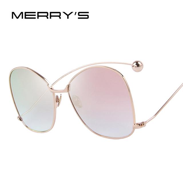 Mujeres de la personalidad exagerada merry's s'8066 protección uv400 gafas de sol mujeres gafas lente transparente