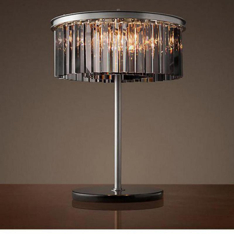 study Round black crystal table lamp Home office E14 led ...