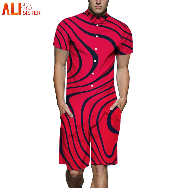 Alisister M-3XL Stripe Print Rompers Mens Summer Short Sleeve 3d Jumpsuit Harem Cargo Playsuit Overalls One Piece Plus Size Red