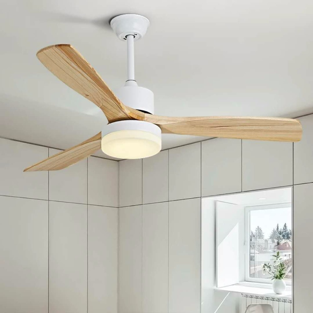 LED Ceiling Fans For Living Room 220V Wooden Ceiling Fans With Lights  42 Inch  Blades Cooling Fans Remote Dimming Fan Lamp