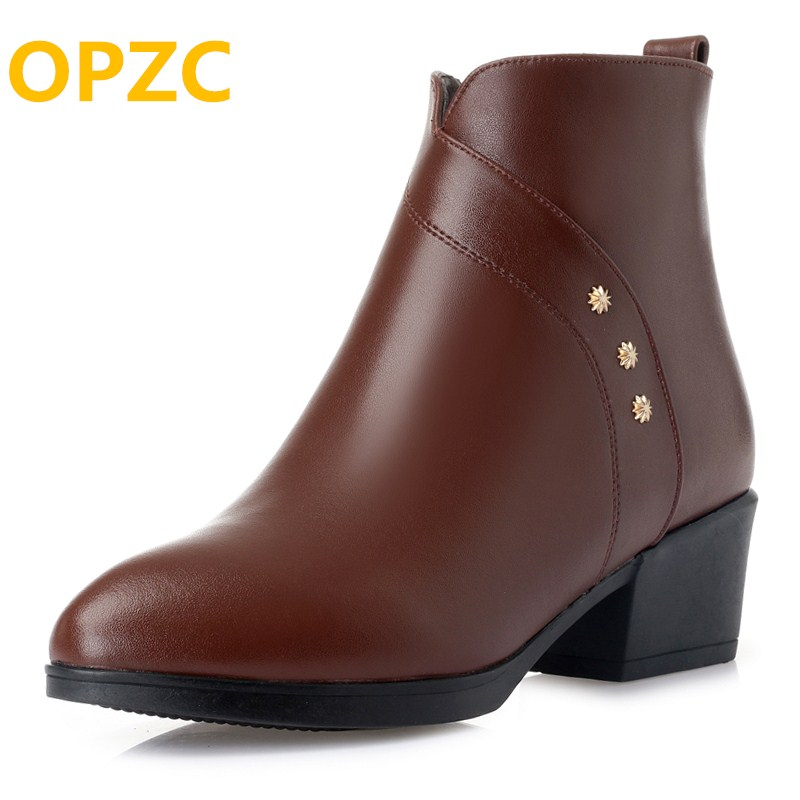 OPZC Women ankle boots 2018 new genuine leather women Martin boots, large size 41 42 43 pointed women winter boots women shoes цены онлайн