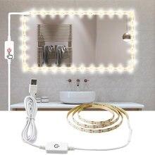 USB اللمس التبديل ستبليس يعتم إضاءة LED للخزانة شرائط مصباح الأزياء الدافئة الأبيض خزانة LED قطاع قابل للتعديل 0.5 m/1 m/2 m/3 m/4 m/5 m
