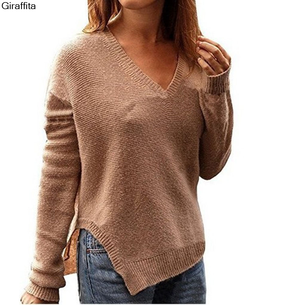 Autumn Women Casual V-Neck Long Sleeves Casual Shirt Sweater Hem Side Cut Sweater