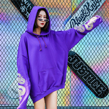 New2018 hip hop Chinese golden dragon totem embroidered hooded love hoodie