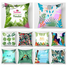 Fuwatacchi Tropical Plant Paint Cushion Cover Flower Bird Throw Pillows Decor Home Sofa Chair Decorative