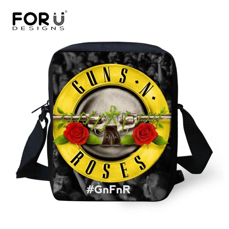 Men Messenger Bags Male Casual Crossbody Bags Guns n Roses Rock Shoulder bag Teenagers Boys Cross Body Bolsos FORUDESIGNS 2017