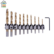 10PC 3-10mm HSS Titanium Countersink Drill Bits Set Boring Hole Saw Carpentry Reamer For Soft Hardwood Plastic Acrylic Drilling