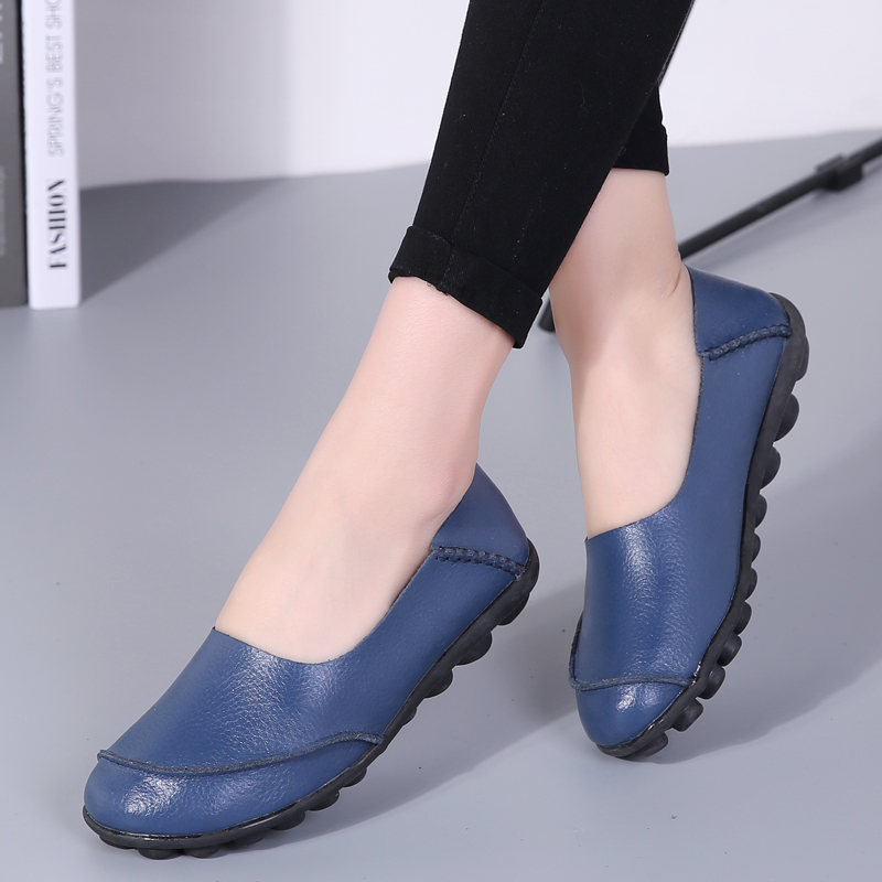 2018 New Women Flats Shoes Round Toe Quality Fashion Women's Loafers Casual Leather Moccasins Ladies Loafer Slip On Shoes new fashion women round toe slip on shoes autumn femme casual canvas shoes cute girl party loafers driving free shipping beige