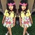 Olekid conjunto de roupas menina verão saias florais + amarelo t-shirt do bebê roupas das meninas set criança 1-4 anos meninas terno traje