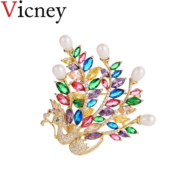 Vicney Brand High Quality Luxury Peacock Pins Brooch AAA Zircon Crystal Fashion brooches for women girl temperament Jewelry gift
