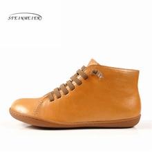 Женские повседневные Зимние ботильоны из натуральной овечьей кожи, удобная качественная мягкая обувь ручной работы на плоской подошве, синие, желтые ботинки с мехом
