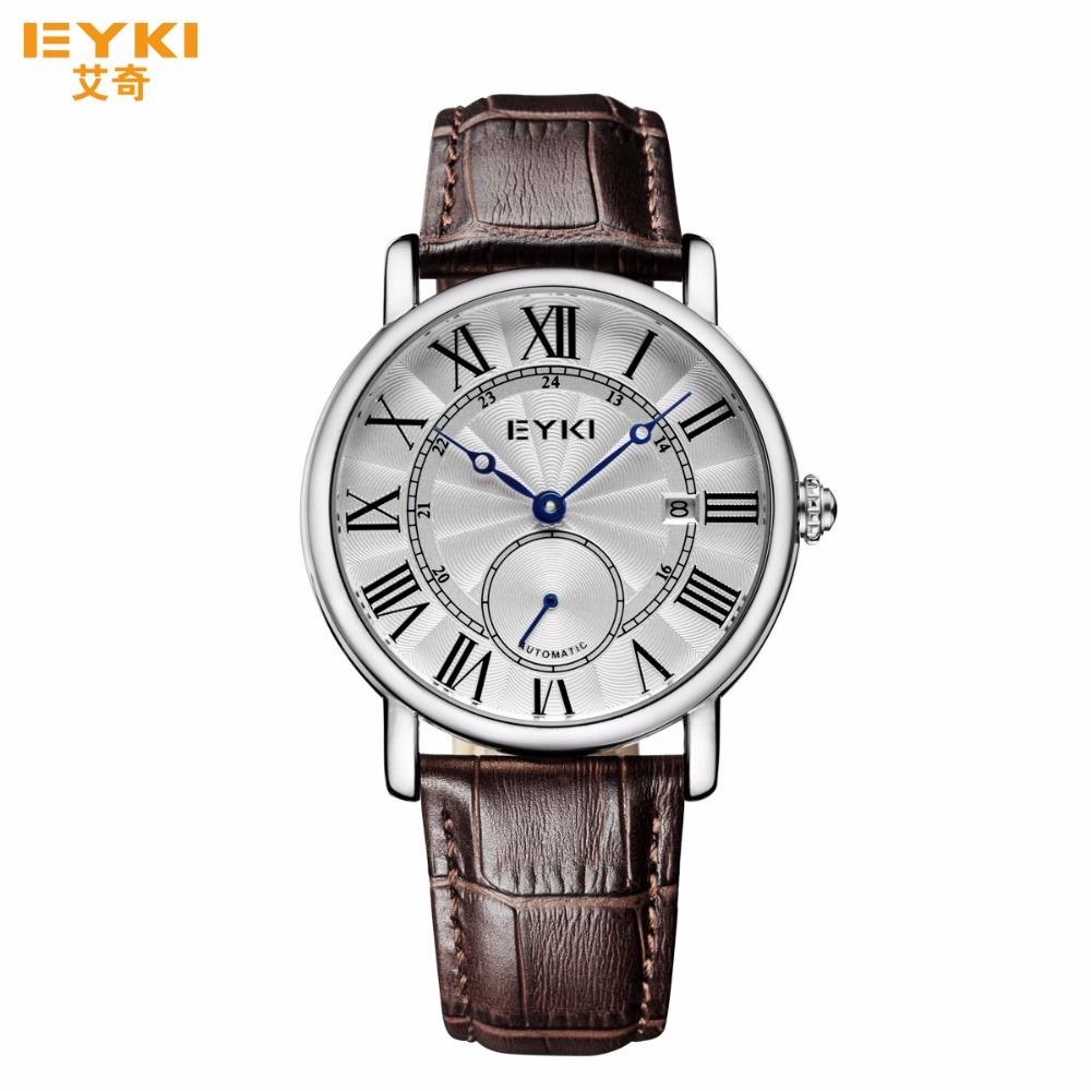 Top Brand Men Watch Automatic Mechanical Date Week Display Male Clock Casual Genuine Leather Strap Roman Numeral Hollow Dial forsining a165 men tourbillon automatic mechanical watch leather strap date week month year display