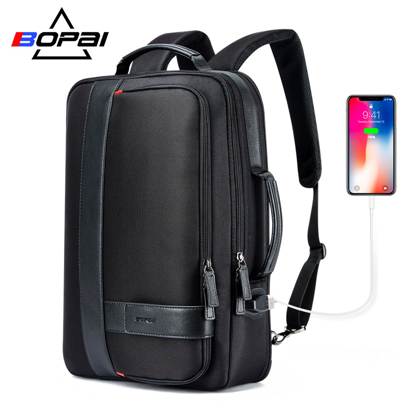BOPAI Backpack Men Enlarge USB External Charge Laptop Backpack 15.6 Inch Large Capacity Anti-theft Travel Backpack for teenager bopai laptop backpack with usb external charging port for 15 6 inch laptop men anti theft waterproof large capacity travel bag