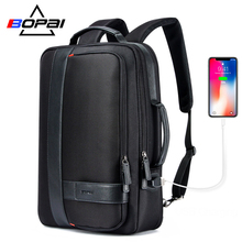BOPAI Backpack Men Enlarge USB External Charge Laptop Backpack 15.6 Inch Large Capacity Anti-theft Travel Backpack for teenager bopai usb external charge enlarge anti theft laptop backpack for school multifunction laptop bag 15 6 inch men backpack travel