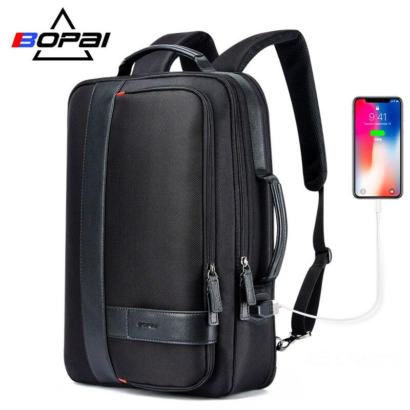 BOPAI sac à dos hommes agrandir USB Charge externe sac à dos pour ordinateur portable 15.6 pouces grande capacité Anti-vol voyage sac à dos pour adolescent