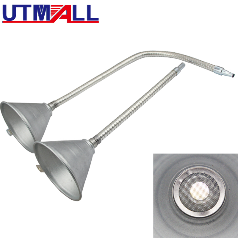 Metal/Iron Oil Funnel Oil Fuel Adding Tool For Car Vans With Flexible Pipe 370mm Or 630mm With Strainer