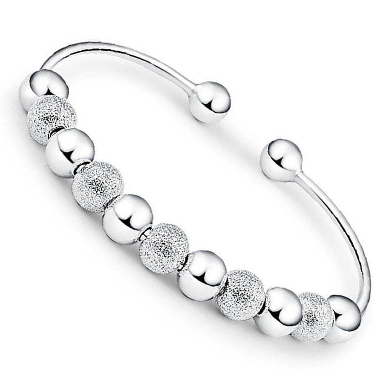 silver cuff bracelet transfer fortune 999 sterling silver bangle female nine transfer beads bracelet jewelry for gift