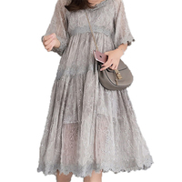New Summer Dress Vintage Floral Women's Dress Large Size Sling Chiffon Dress Loose Big Size Lace Puff Sleeve Female Dress J380 2
