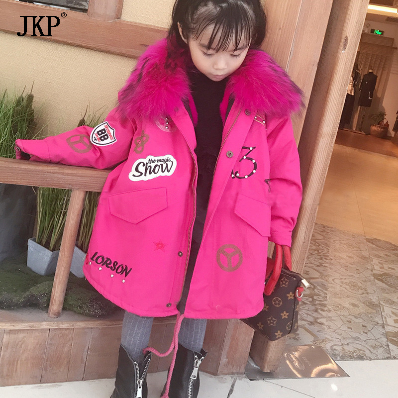Winter Girls Children Fur parka With Kids Lining Natural Rex rabbit Fur Coat Warm Thick Real Raccoon Fur Collar Jacket olekid 2017 new cartoon rabbit winter girls parka thick warm hooded children outerwear 5 14 years teenage girls sweater coat