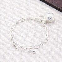 S925 Sterling Silver Japan And South Korea Fashion Palace Bell Bracelet Plain Silver Female Bracelet