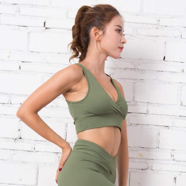 3efe4e59d5 Colorvalue Deep-V Neck Gym Yoga Bra Women Sexy High Support Dance Jogger Sports  Bras