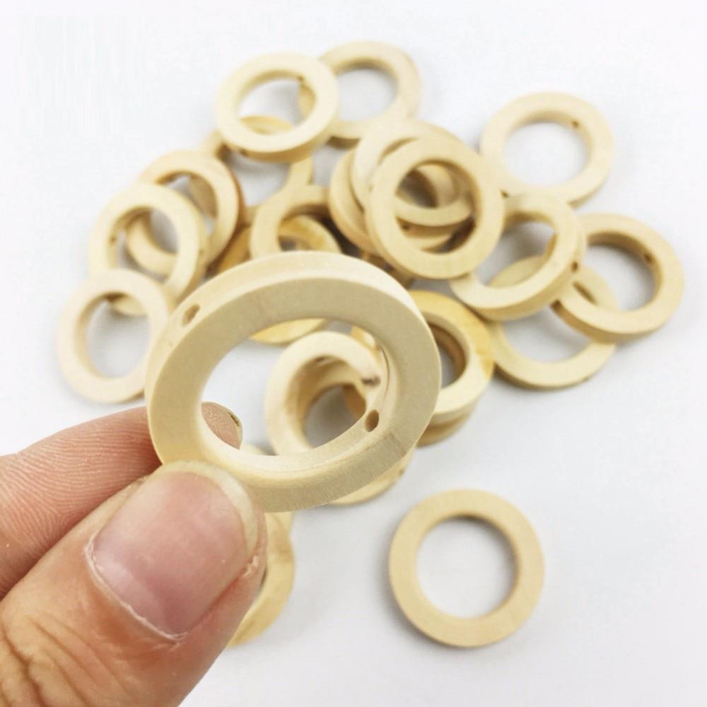 25*8MM Teether DIY Crafts Wooden Rings Small Wood Chewable Teething Toys Baby Nursing Accessories 5PCS Unpainted Handmade Ring