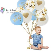 Blue Pink Boy Kids Baby Shower Balloon Its A Girl Confetti Heart Gold Latex Ballon Birthday Party Decorations Globos