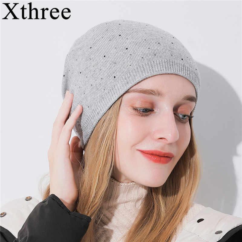 Gorros de lana de punto para mujer Xthree invierno gorros de moda para mujer  gorras de c035aa838509
