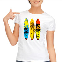 Pokemon Women S T Shirt Sea Palm Tree Surfboard Design Summer Tshirts Custom Printed Tops Hipster